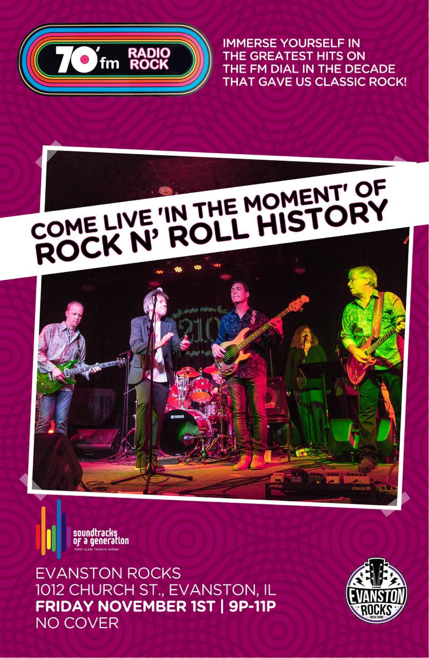 70s Radio Rockumentary poster; Evanston Rocks, November 1st, 2019
