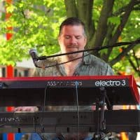 Bill LeClair, keyboards, the Wall of Denial Steve Ray Vaughan tribute band